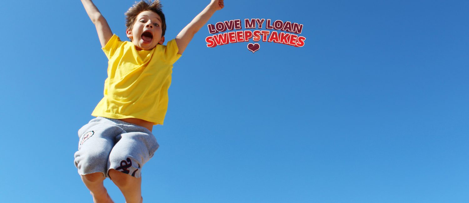 Boy Cheering for Love My Loan Sweepstakes